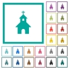 Curch flat color icons with quadrant frames - Curch flat color icons with quadrant frames on white background