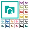 Bug folder flat color icons with quadrant frames - Bug folder flat color icons with quadrant frames on white background