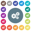 Gears flat white icons on round color backgrounds - Gears flat white icons on round color backgrounds. 17 background color variations are included.