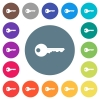 Safety key flat white icons on round color backgrounds - Safety key flat white icons on round color backgrounds. 17 background color variations are included.