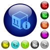 Package information color glass buttons - Package information icons on round color glass buttons