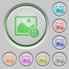 Lock image push buttons - Lock image color icons on sunk push buttons