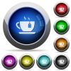 Cup of tea with teabag round glossy buttons - Cup of tea with teabag icons in round glossy buttons with steel frames