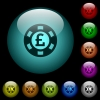 Pound casino chip icons in color illuminated glass buttons - Pound casino chip icons in color illuminated spherical glass buttons on black background. Can be used to black or dark templates