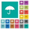 Umbrella square flat multi colored icons - Umbrella multi colored flat icons on plain square backgrounds. Included white and darker icon variations for hover or active effects.