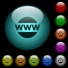 Domain name icons in color illuminated glass buttons - Domain name icons in color illuminated spherical glass buttons on black background. Can be used to black or dark templates