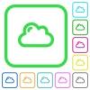 Single cloud vivid colored flat icons - Single cloud vivid colored flat icons in curved borders on white background