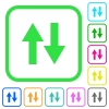Data traffic vivid colored flat icons - Data traffic vivid colored flat icons in curved borders on white background