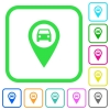 Vehicle GPS map location vivid colored flat icons - Vehicle GPS map location vivid colored flat icons in curved borders on white background