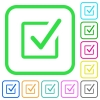 Checked box vivid colored flat icons - Checked box vivid colored flat icons in curved borders on white background