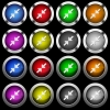Resize small white icons in round glossy buttons on black background - Resize small white icons in round glossy buttons with steel frames on black background. The buttons are in two different styles and eight colors.