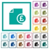 Pound financial report flat color icons with quadrant frames - Pound financial report flat color icons with quadrant frames on white background