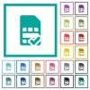 SIM card accepted flat color icons with quadrant frames - SIM card accepted flat color icons with quadrant frames on white background