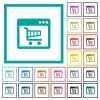 Webshop application flat color icons with quadrant frames - Webshop application flat color icons with quadrant frames on white background
