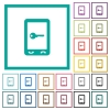 Mobile secure flat color icons with quadrant frames - Mobile secure flat color icons with quadrant frames on white background
