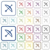 Bow with arrow outlined flat color icons - Bow with arrow color flat icons in rounded square frames. Thin and thick versions included.