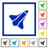 Space shuttle flat framed icons - Space shuttle flat color icons in square frames on white background