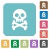 Skull with bones rounded square flat icons - Skull with bones white flat icons on color rounded square backgrounds