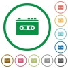 Vintage retro walkman flat icons with outlines - Vintage retro walkman flat color icons in round outlines on white background