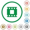 Movie stop flat color icons in round outlines on white background - Movie stop flat icons with outlines