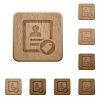 Contact tag wooden buttons - Contact tag on rounded square carved wooden button styles