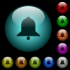 Single bell icons in color illuminated glass buttons - Single bell icons in color illuminated spherical glass buttons on black background. Can be used to black or dark templates