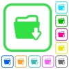 Download folder vivid colored flat icons - Download folder vivid colored flat icons in curved borders on white background