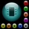 Integrated circuit icons in color illuminated glass buttons - Integrated circuit icons in color illuminated spherical glass buttons on black background. Can be used to black or dark templates