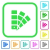 Color swatch vivid colored flat icons - Color swatch vivid colored flat icons in curved borders on white background