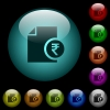 Indian Rupee financial report icons in color illuminated glass buttons - Indian Rupee financial report icons in color illuminated spherical glass buttons on black background. Can be used to black or dark templates