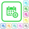 Add to calendar vivid colored flat icons - Add to calendar vivid colored flat icons in curved borders on white background