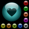Heart shape icons in color illuminated glass buttons - Heart shape icons in color illuminated spherical glass buttons on black background. Can be used to black or dark templates