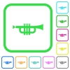 Trumpet vivid colored flat icons - Trumpet vivid colored flat icons in curved borders on white background
