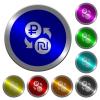 Ruble Shekel money exchange luminous coin-like round color buttons - Ruble Shekel money exchange icons on round luminous coin-like color steel buttons