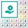 Maintenance service flat color icons with quadrant frames - Maintenance service flat color icons with quadrant frames on white background