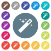 Magic wand flat white icons on round color backgrounds. 17 background color variations are included. - Magic wand flat white icons on round color backgrounds