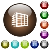 Office block color glass buttons - Office block white icons on round color glass buttons