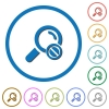 Search disabled icons with shadows and outlines - Search disabled flat color vector icons with shadows in round outlines on white background