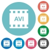 AVI movie format flat round icons - AVI movie format flat white icons on round color backgrounds