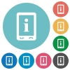 Mobile information flat round icons - Mobile information flat white icons on round color backgrounds