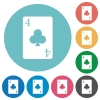 four of clubs card flat round icons - four of clubs card flat white icons on round color backgrounds