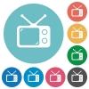 Vintage retro television flat round icons - Vintage retro television flat white icons on round color backgrounds