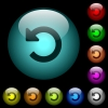 Undo changes icons in color illuminated glass buttons - Undo changes icons in color illuminated spherical glass buttons on black background. Can be used to black or dark templates