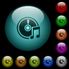 Audio CD icons in color illuminated glass buttons - Audio CD icons in color illuminated spherical glass buttons on black background. Can be used to black or dark templates