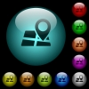 Location pin on map icons in color illuminated spherical glass buttons on black background. Can be used to black or dark templates - Location pin on map icons in color illuminated glass buttons