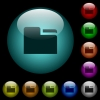 Tab folder icons in color illuminated spherical glass buttons on black background. Can be used to black or dark templates - Tab folder icons in color illuminated glass buttons
