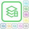 Locked layers vivid colored flat icons - Locked layers vivid colored flat icons in curved borders on white background