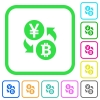 Yen Bitcoin money exchange vivid colored flat icons - Yen Bitcoin money exchange vivid colored flat icons in curved borders on white background