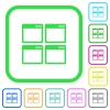 Mosaic window view mode vivid colored flat icons - Mosaic window view mode vivid colored flat icons in curved borders on white background