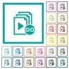 Link playlist flat color icons with quadrant frames - Link playlist flat color icons with quadrant frames on white background